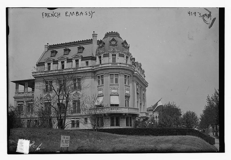 Photograph shows the French Embassy, designed by architect George Oakley Totten, Jr., now the Council for Professional Recognition at 2460 16th St. NW, Washington, D.C.  [between ca. 1915 and ca. 1920] George Grantham Bain Collection (Library of Congress)